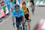 Nairo Quintana (COL) Movistar and Sepp Kuss (USA) Jumbo-Visma cross the blocked finish line at the end of Stage 5 of La Vuelta 2019 running 170.7km from L'Eliana to Observatorio Astrofisico de Javalambre, Spain. 28th August 2019.<br /> Picture: Colin Flockton | Cyclefile<br /> <br /> All photos usage must carry mandatory copyright credit (© Cyclefile | Colin Flockton)