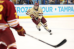 07 APR 2012:  Johnny Gaudreau (13) of Boston College looks for an opening in the Ferris State University defense during the Division I Men's Ice Hockey Championship held at the Tampa Bay Times Forum in Tampa, FL.  Boston College defeated Ferris State 4-1 to win the national title.  Matt Marriott/NCAA Photos