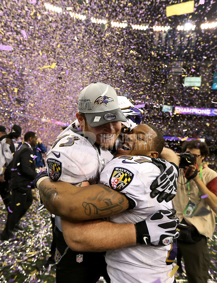 Feb 3, 2013; New Orleans, LA, USA; Baltimore Ravens running back Ray Rice (27) hugs guard Marshal Yanda (73) after defeating the San Francisco 49ers in Super Bowl XLVII at the Mercedes-Benz Superdome. Mandatory Credit: Mark J. Rebilas-