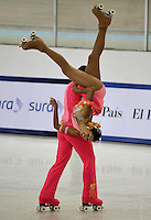 CALI - COLOMBIA - 27-07-2013: Leonardo Parrado y Marcela Cruz, de Colombia durante presentación en la prueba Danza Libre Programa Largo en Mayores Danza en el Patinaje Artistico durante los IX Juegos Mundiales Cali, julio 27 de 2013. (Foto: VizzorImage / Luis Ramirez / Staff.) Leonardo Parrado and Marcela Cruz, from Colombia during the performance in Free Dance Order Long Senior Danza in the Artistic Skating in the IX World Games Cali July 27, 2013. (Photo: VizzorImage / Luis Ramirez / Staff.)