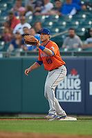 Syracuse Mets first baseman Travis Taijeron (19) during an International League game against the Buffalo Bisons on June 29, 2019 at Sahlen Field in Buffalo, New York.  Buffalo defeated Syracuse 9-3.  (Mike Janes/Four Seam Images)
