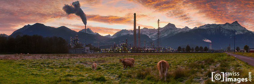 Monthey's refinery at sunrise