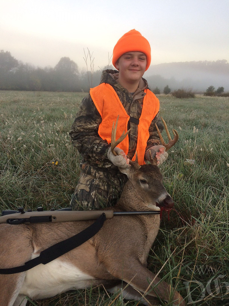 Courtesy photo<br /> YOUTH HUNT TROPHY<br /> Cason Frisby, 12, shows a 10-point buck he shot Nov. 6 during the statewide youth deer hunt Nov. 5-6. Cason shot the deer in Washington County while hunting with his dad, Jimmy Frisby of Fayetteville.