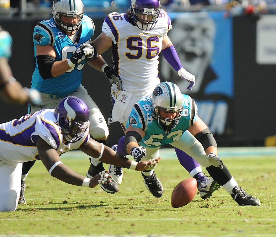 GEOFF HANGARTNER, of the Carolina Panthers in action during the Panthers game against the Minnesota Vikings on October 30, 2011 at Bank of America Stadium in Charlotte, NC. The Vikings beat the Panthers 24-21.