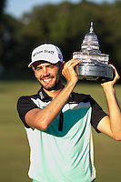 Gainesville, VA - August 2, 2015:     Troy Merritt holds the Quicken Loan National trophy at the Robert Trent Jones Golf Club in Gainesville, VA. August 2, 2015.  (Photo by Elliott Brown/Media Images International)