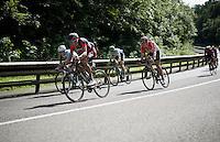 Greg Van Avermaet (BEL/BMC), Jan Bakelants (BEL/Ag2r-LaMondiale), Jens Keukeleire (BEL/Orica-GreenEDGE) &amp; Jelle Wallays (BEL/Lotto-Soudal) descending fast<br /> <br /> Belgian National Road Cycling Championships 2016<br /> Les Lacs de l'Eau d'Heure