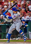 7 October 2017: Chicago Cubs second baseman Javier Baez at bat against the Washington Nationals at Nationals Park in Washington, DC. The Nationals defeated the Cubs 6-3 and even their best of five Postseason series at one game apiece. Mandatory Credit: Ed Wolfstein Photo *** RAW (NEF) Image File Available ***