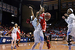 23 March 2015: Ohio State's Kelsey Mitchell (3) and North Carolina's Brittany Rountree (11). The University of North Carolina Tar Heels hosted the Ohio State University Buckeyes at Carmichael Arena in Chapel Hill, North Carolina in a 2014-15 NCAA Division I Women's Basketball Tournament second round game. UNC won the game 86-84.