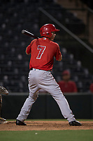 AZL Angels pinch hitter David Clawson (7) at bat during an Arizona League game against the AZL Athletics at Tempe Diablo Stadium on June 26, 2018 in Tempe, Arizona. The AZL Athletics defeated the AZL Angels 7-1. (Zachary Lucy/Four Seam Images)