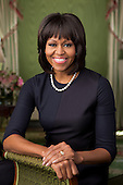 Official portrait of First Lady Michelle Obama in the Green Room of the White House, February 12, 2013. .Mandatory Credit: Chuck Kennedy - White House via CNP