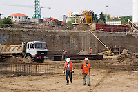 milano, cantiere per la  riqualificazione dell'area dell'ex scalo ferroviario di porta vittoria su cui è prevista la costruzione della b.e.i.c., biblioteca europea di informazione e cultura --- milan, construction site for the requalification of former railway merchandise port of call of Milan Porta Vittoria. the b.e.i.c. (european library of information and culture) is expected to be built