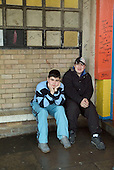 Teenagers hang out outside public toilets close to the beach at the seaside holiday resort of Cleethorpes, on the outskirts of the declining fishing port of Grimsby.