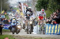 race leaders Alexander Kristoff (NOR/Katusha) &amp; Niki Terpstra (NLD/Etixx-QuickStep) up the Paterberg<br /> <br /> 99th Ronde van Vlaanderen 2015