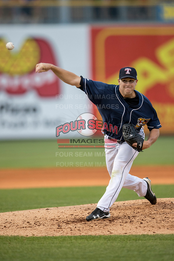 Toledo Mud Hens pitcher Warwick Saupold (16) delivers a pitch to the plate against the Louisville Bats during the International League baseball game on May 17, 2017 at Fifth Third Field in Toledo, Ohio. Toledo defeated Louisville 16-2. (Andrew Woolley/Four Seam Images)