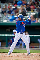 South Bend Cubs designated hitter Vimael Machin (19) at bat during a game against the Kane County Cougars on May 3, 2017 at Four Winds Field in South Bend, Indiana.  South Bend defeated Kane County 6-2.  (Mike Janes/Four Seam Images)