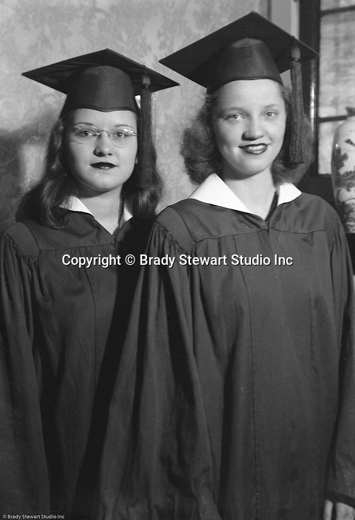 Wilkinsburg PA:  Sally Stewart and friend on graduation day at Wilkinsburg High School - 1942
