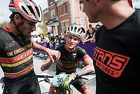 NWA Democrat-Gazette/CHARLIE KAIJO Fernando Riveros of Austin TX (left) congratulates Kyle Trudeau of Tucson Ariz. on finishing the men's race of the Epic Rides Oz Trails championship mountain bike race, Sunday, October 7, 2018 at the downtown square in Bentonville.<br />