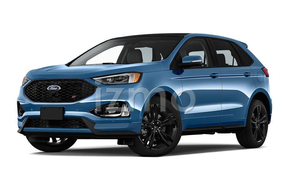 Stock pictures of low aggressive front three quarter view of a 2019 Ford Edge ST 5 Door SUV