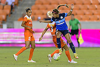 Houston, TX - Sunday June 19, 2016: Rachel Daly, Frances Silva during a regular season National Women's Soccer League (NWSL) match between the Houston Dash and FC Kansas City at BBVA Compass Stadium.