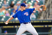 Iowa Cubs pitcher Barret Loux (50) delivers a pitch to the plate against the Round Rock Express in the Pacific Coast League baseball game on July 21, 2013 at the Dell Diamond in Round Rock, Texas. Round Rock defeated Iowa 3-0. (Andrew Woolley/Four Seam Images)