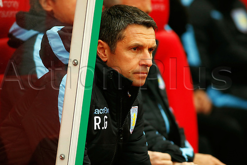 27.02.2016. Britannia Stadium, Stoke, England. Barclays Premier League. Stoke City versus Aston Villa. Aston Villa Manager Remi Garde watches on