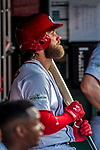 7 October 2017: Washington Nationals outfielder Bryce Harper looks out from the dugout during the second NLDS game against the Chicago Cubs at Nationals Park in Washington, DC. The Nationals defeated the Cubs 6-3 and even their best of five Postseason series at one game apiece. Mandatory Credit: Ed Wolfstein Photo *** RAW (NEF) Image File Available ***
