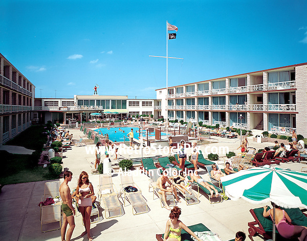 Jolly Roger Motel, Wildwood, NJ. Pool and large deck area. 1960's