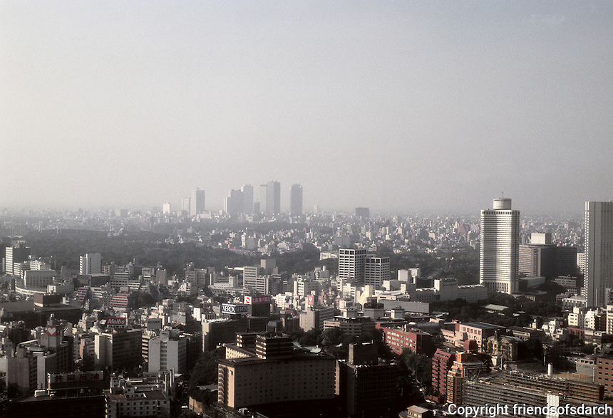 Tokyo: Panorama--Looking southwest to distant Shibuya. Photo '81.