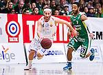 S&ouml;dert&auml;lje 2014-04-22 Basket SM-Semifinal 7 S&ouml;dert&auml;lje Kings - Uppsala Basket :  <br /> Uppsalas Mannos Nakos i kamp om bollen med S&ouml;dert&auml;lje Kings John Roberson <br /> (Foto: Kenta J&ouml;nsson) Nyckelord:  S&ouml;dert&auml;lje Kings SBBK Uppsala Basket SM Semifinal Semi T&auml;ljehallen