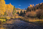 Dallas Creek and the Sneffels Range ©2016 James D Peterson.  A few days after the first autumn storm, some show was still evident on the north face of these peaks in the San Juan mountains.
