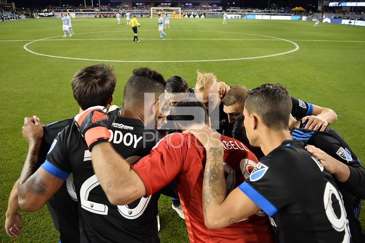 San Jose, CA - Saturday September 15, 2018: San Jose Earthquakes huddle prior to a Major League Soccer (MLS) match between the San Jose Earthquakes and Sporting Kansas City at Avaya Stadium.