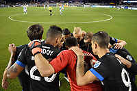 San Jose, CA - Saturday September 15, 2018: San Jose Earthquakes huddle prior to a Major League Soccer (MLS) match between the San Jose Earthquakes and Sporting Kansas City at Avaya Stadium.