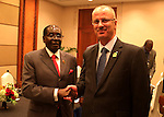 Palestinian Prime Minister Rami Hamdallah meets with Zimbabwe's President Robert Mugabe during the Asian African Conference in Jakarta April 23, 2015. The 60th Asian-African Conference is held in Jakarta and Bandung from 19 to 24 April 2015. Photo by Prime Minister Office