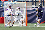 Ted Forst  (#43) fires a shot as Yale defeats UAlbany 20-11 in the NCAAA semifinal game at Gillette Stadium, May 26.