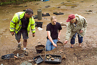 SAVEOCK WATER, CORNWALL, ENGLAND - AUGUST 03: A view from the front of archaeologist Jacqui Wood, her team and students on August 3, 2008 in Saveock Water, Cornwall. They are excavating a Mesolithic platform.(Photo by Manuel Cohen)