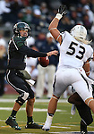 Hawaii's Sean Schroeder (19) looks down field against the Nevada defence during the first half of an NCAA college football game in Reno, Nev., on Saturday, Sept. 21, 2013. (AP Photo/Cathleen Allison)