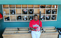 July 29, 2009: Infielder Harold Garcia (34) of the Lakewood BlueClaws, Class A affiliate of the Philadelphia Phillies, waits by the bat rack just before a game at Fluor Field at the West End in Greenville, S.C. Photo by: Tom Priddy/Four Seam Images