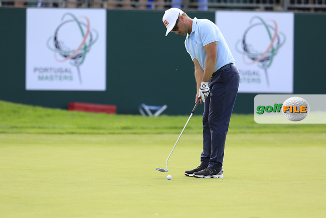 Mikko Korhonen (FIN) takes his putt on the 9th green during Saturday's Round 3 of the 2016 Portugal Masters held at the Oceanico Victoria Golf Course, Vilamoura, Algarve, Portugal. 22nd October 2016.<br /> Picture: Eoin Clarke | Golffile<br /> <br /> <br /> All photos usage must carry mandatory copyright credit (&copy; Golffile | Eoin Clarke)