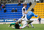 St Johnstone v Inverness Caley Thistle....07.04.12   SPL.Fran Sandaza is barged over in the box by Roman Golobart but no penalty was awarded..Picture by Graeme Hart..Copyright Perthshire Picture Agency.Tel: 01738 623350  Mobile: 07990 594431