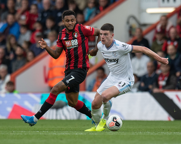 West Ham United's Declan Rice (right) battles with Bournemouth's Joshua King (left) <br /> <br /> Photographer David Horton/CameraSport<br /> <br /> The Premier League - Bournemouth v West Ham United - Saturday 28th September 2019 - Vitality Stadium - Bournemouth<br /> <br /> World Copyright © 2019 CameraSport. All rights reserved. 43 Linden Ave. Countesthorpe. Leicester. England. LE8 5PG - Tel: +44 (0) 116 277 4147 - admin@camerasport.com - www.camerasport.com