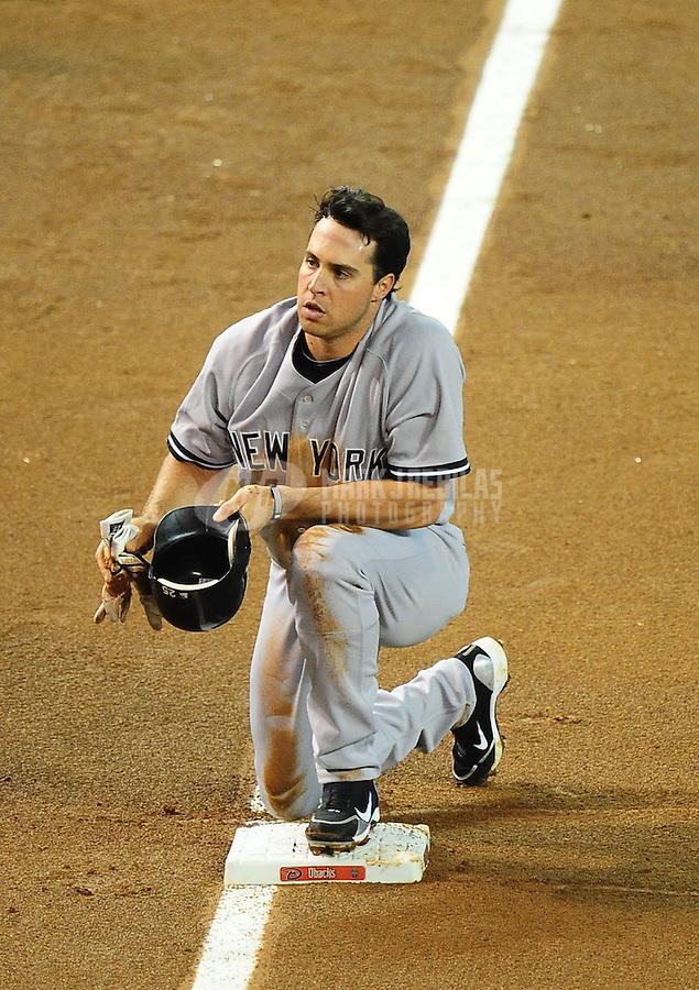Jun. 22, 2010; Phoenix, AZ, USA; New York Yankees first baseman Mark Teixeira against the Arizona Diamondbacks at Chase Field. Mandatory Credit: Mark J. Rebilas-