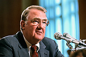 United States Attorney General Edwin Meese, III testifies before the US Senate Committee on Governmental Affairs Subcommittee on Oversight of Government Management on Capitol Hill in Washington, DC on July 8, 1987.<br /> Credit: Ron Sachs / CNP