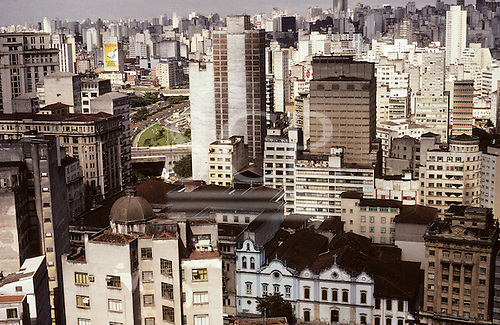 Sao Paulo, Brazil. Overview of high rise office and residential buildings in city centre looking south over the Largo Sao Francisco with colonial Sao Francisco church.