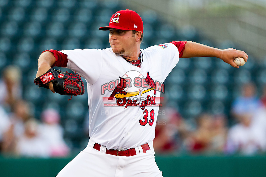 Daniel Calhoun (39) of the Springfield Cardinals delivers a pitch during a game against the Tulsa Drillers at Hammons Field on July 18, 2011 in Springfield, Missouri. Tulsa defeated Springfield 13-8. (David Welker / Four Seam Images)