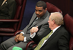 Nevada Senate Majority Leader Steven Horsford, D-North Las Vegas, left, and Sen. Mike Schneider, D-Las Vegas, speak on the Senate floor at the Legislature in Carson City, Nev., on Thursday, March 17, 2011.  .Photo by Cathleen Allison