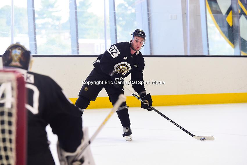 September 15, 2017: Boston Bruins left wing Jesse Gabrielle (82) shoots against goalie Tuukka Rask (40) during the Boston Bruins training camp held at Warrior Ice Arena in Brighton, Massachusetts. Eric Canha/CSM