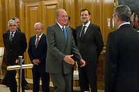 30.07.2012. King Juan Carlos I of Spain attends the promise of the President of the Court of Auditors, Ramon Alvarez de Miranda Garcia, at the Royal Palace of La Zarzuela. In the image (L-R) Gonzalo Moliner Tamborero, President Supreme Tribunal, King Juan Carlos, Mariano Rajoy Brey and Alberto Ruiz Gallardon (Alterphotos/Marta Gonzalez) *NortePhoto.com<br />