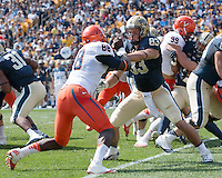 Pitt tight end Scott Orndoff (83) blocks Virginia defensive end Max Valles (88). The Pitt Panthers defeated the Virginia Cavaliers 14-3 at Heinz Field, Pittsburgh, PA on Saturday, September 28, 2013.