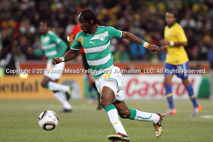 20 JUN 2010:  Gervinho (CIV)(10).  The Brazil National Team defeated the C'ote d'Ivoire National Team 3-1 at the end of the first half at Soccer City Stadium in Johannesburg, South Africa in a 2010 FIFA World Cup Group G match.