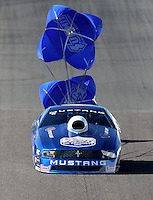 Feb. 23, 2013; Chandler, AZ, USA; NHRA pro stock driver Larry Morgan during qualifying for the Arizona Nationals at Firebird International Raceway. Mandatory Credit: Mark J. Rebilas-